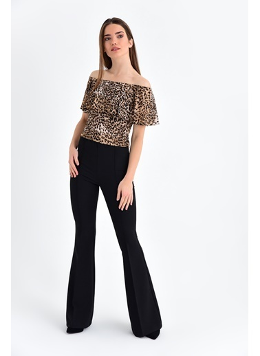 Jument Dream Yüksek Bel Önü Arka Dikişli İspanyol Pantolon Siyah